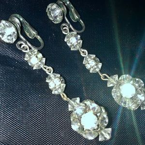 Vintage Rhinestone Statement Earrings Clip-on